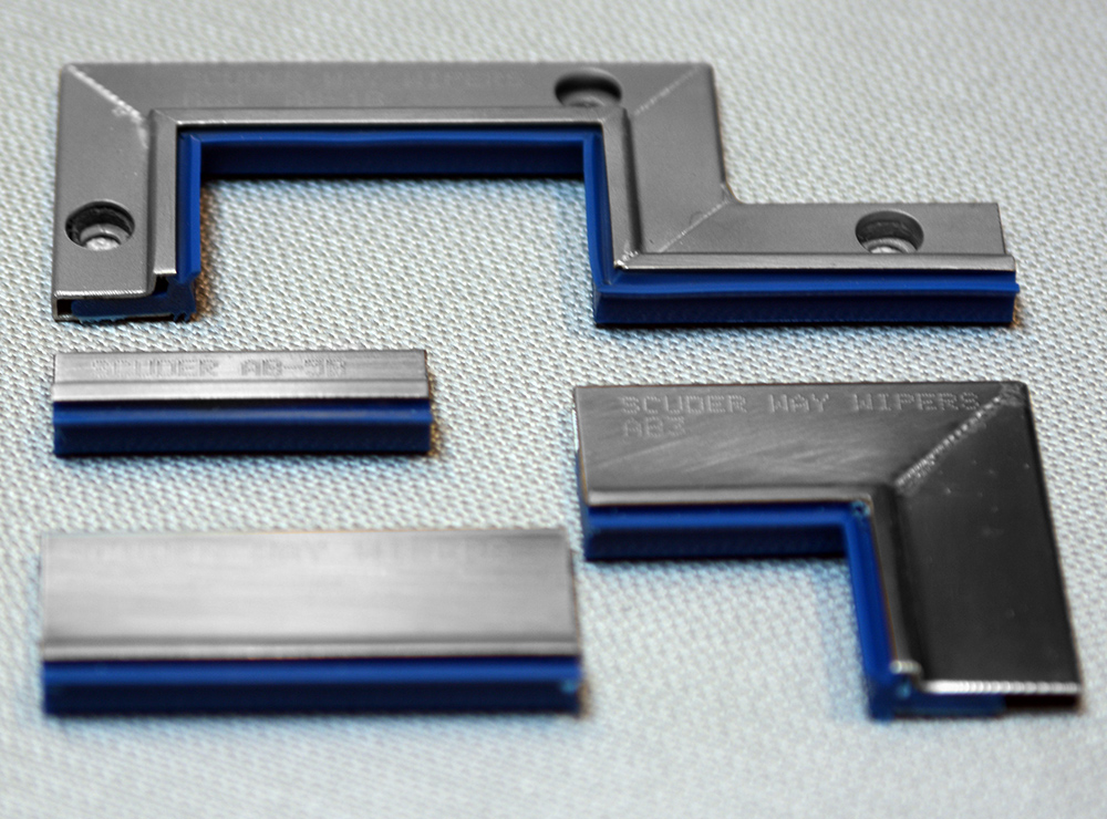 AB way wipers with blue polyurethane
