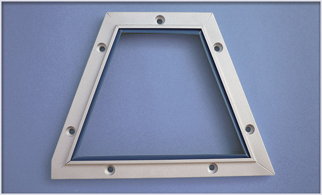 Example of a part manufactured with LA profile on blueprint with fasteners.