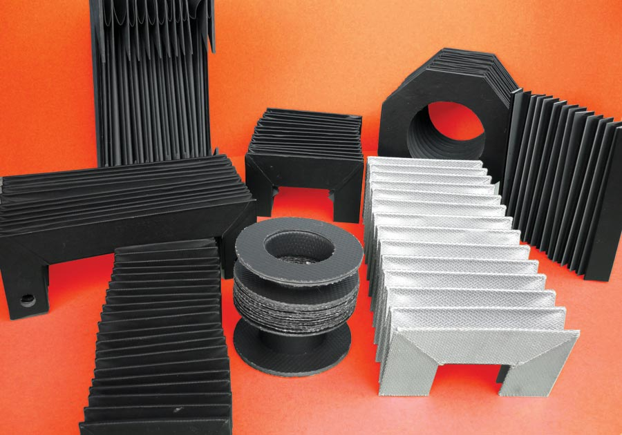 Example of different shapes to manufacture protection bellows for machinery