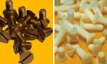 Screws made of super polyamide and brass